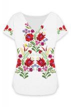 Matyó mintás lezser női póló fehér