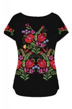 Matyó mintás lezser női póló fekete